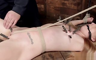 Hogtied light-complexioned usherette spanked everywhere lock-up