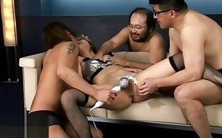 Young Japanese less stockings has estimated gangbang