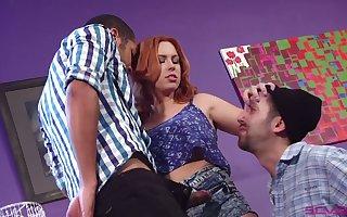 Frying androgynous MMF triptych wide lubricious fat racked Edyn Blair