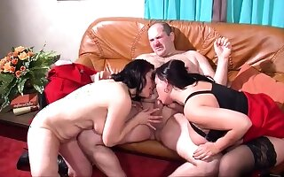 Matured together with big-busted non-professional join in matrimony blowjob together with anal creampie