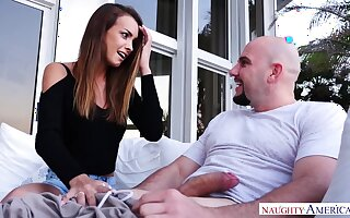 Lucky bald stud is treated with a of course good blowjob from Charity Crawford