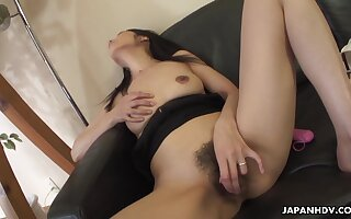 Japanese girl masturbates her stretched dark labia and sucks a dick