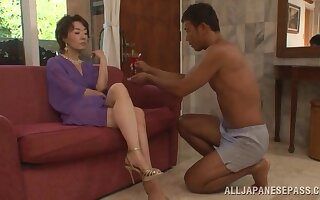Trimmed pussy Asian mature Kei Marimura moans while getting beaten